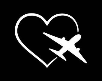 Love Travel Decal Pilot Stickers Airplane Decals Plane Car Decal Travel Sticker Bumper Sticker Vinyl Decal Yeti Tumbler Window Wall etc..