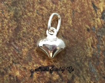 Puff Heart Charm, Sterling Silver Puff Heart Charm, Shiny Puff Heart, Sterling Silver Charm, Tiny Heart Charm, PS0207