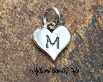 Initial Charm, Letter Charm, M Charm, Letter M Charm, Heart Letter Charm, Alphabet Charm, Sterling Silver Charm