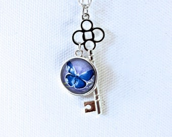 Blue Butterfly Necklace Silver Finish Pendant Necklace with Key Charm