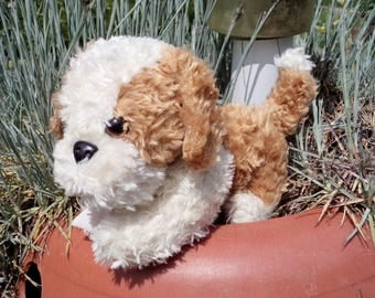 Plush Puppy, Plush Toy, Vintage Plush Dog, Old Plush Toy, Stuffed Puppy Dog, White and Beige Plush Puppy Toy, For Children, Nursery Decor