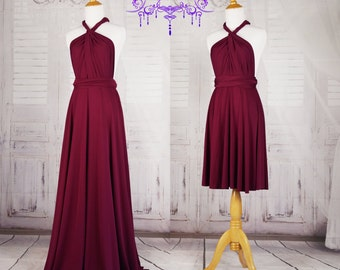Burgundy Bridesmaid Dresses, gown convertible dress, long infinity dress, maternity dress, party dress, Wedding Dress C27# B27#