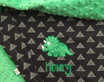 Triceratops Baby Blanket | Dinosaur Baby Blanket | Personalized Dinosaur Baby Blanket | Gender Neutral Baby Blanket