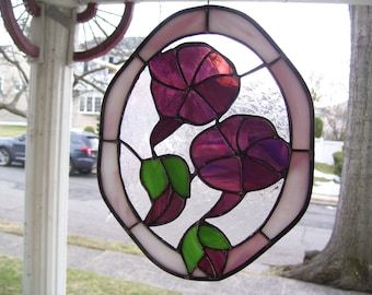 Stained Glass  Morning Glory Suncatcher