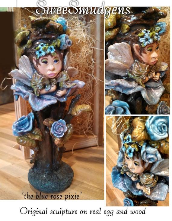 Fine art figurine garden pixie fairy fantasy original sculpture real egg art unique Avant Garde real egg sculpture hand carved hand painted