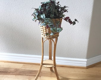 Vintage Bamboo/Wicker/Rattan 2-tiered small plant stand