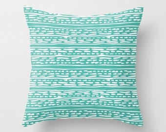 Lines and Dots Pillow  - Modern Pillow  - Teal pillow  - Modern Home Decor - By Aldari Home