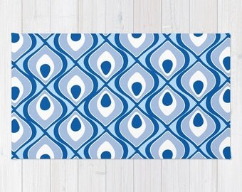 Blue Area Rug - Modern Rug - Blue Nursery Area Rug - Home Decor