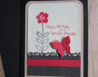Happy Birthday card-Greeting cards,Special Person birthday cards,stamped & embossed cards,pretty butterfly cards,handmade/homemade cards