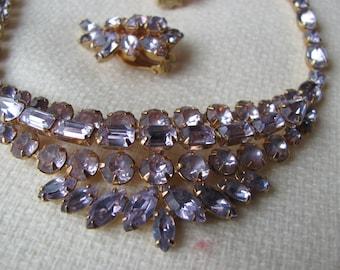 Lavender Kramer Rhinestone Necklace, Earrings