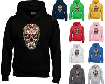 Sugar Skull Lady HOODIE Sweatshirt ROSE EYES Day of Dead Trendy Hooded Sweatshirt Skull Sweater