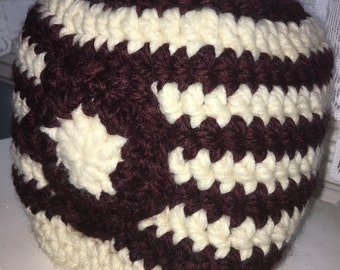 Crocheted Messy Bun Hat w/Flower Embellishment - Maroon and Off White