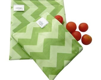 Reusable Snack Bag Set/ Washable Sandwich Bag Food Grade Waterproof Mint Green Chevron