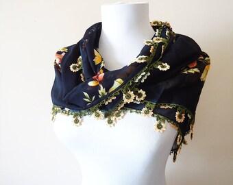 Traditional Turkish Yemeni, Oya scarf, Crochet Oya Scarf,  Wrap Scarf, handmade black scarf, cotton floral scarf, handmade lacework oya
