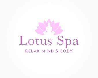 Lotus Spa Logo Design, Yoga Logo, Lotus Flower, Pink Floral Logo, Business Branding, Premade Logo
