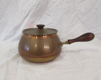 Copper Fondue Pot and Lid, Wood Handle, Wood Lid Knob, 1970's