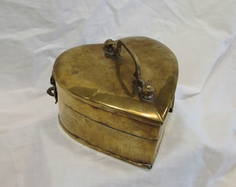 Brass Heart Shaped Trinket Box, Treasure Box, Jewelry Box, India, 1980's