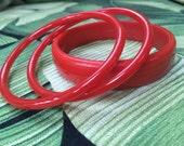 Plastic Bangles, Red Bangle Bracelets, Retro Stocking Stuffer, Vintage Bracelets, Vintage Plastic Bangles - Plastic - Set of 3