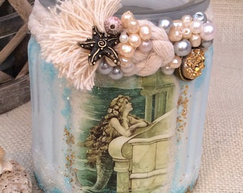 Painted Shabby Chic/Vintage Pretty Mermaid Storage Jar - Hand Decorated with Pearl Beads/Glitter/Rope