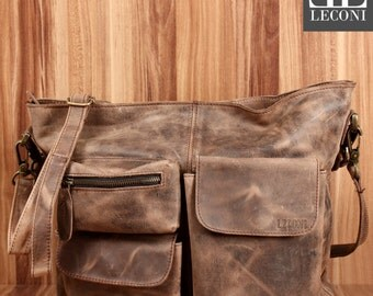 LECONI shoulder bag shoulder bag leather bag lady vintage retro leather mud LE0039 wax