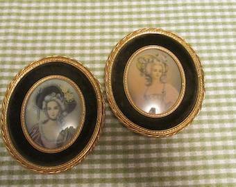 Framed Oval Pictures Elegant Ladies Wearing Bonnets