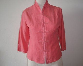 Pre Owned Womens Shirt Blouse Asian Inspired Mandarin Collar Christopher and Banks Size Small Silk and Linen Melon Color C455