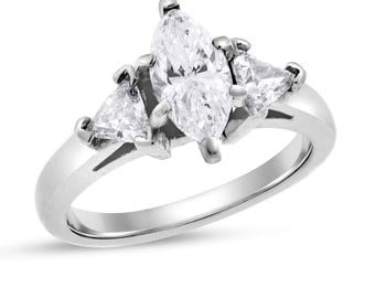 1.52 Ct. Natural Diamond Marquise Trillion Classic Engagement Ring 14k White Gold