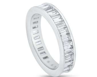 3.41 Ct. Natural Diamond Baguette Channel Set Eternity Ring Band In Solid Platinum
