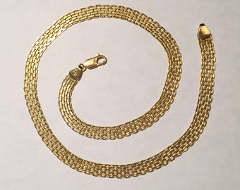 Vintage Heavy 14k Yellow Solid Gold Italian Necklace Weight 17.1g