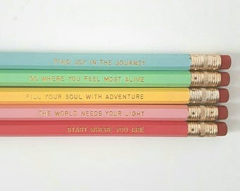 Inspirational pencils - Back to school - School supplies - Quote pencils - Motivational pencils - Personalised pencils - School stationery