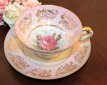 Royal Sealy Cup and Saucer – Pink with Gold Accents and Pink Rose – Made in Japan