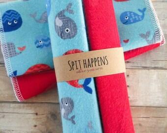 Burp Cloth, double sided flannel burp cloth, baby boy burp cloth, -(set of 2) whales