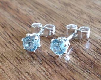 Handmade Sterling Silver & Gemstone Stud Earrings - Sky Blue Topaz - 4mm, Silver Jewellery, Gemstone Earrings, Topaz, Blue Stud Earrings