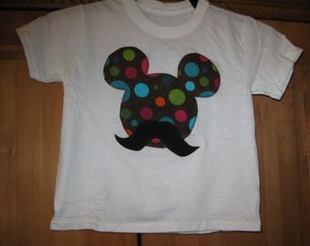 boys mustache mickey mouse shirt/size 4T/sewn on fabric applique