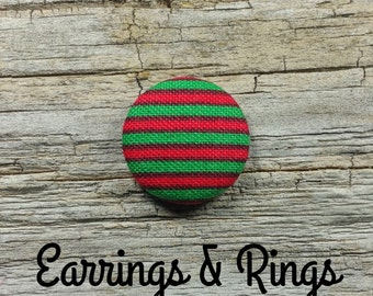 Christmas red green fabric covered button earrings, fabric covered button clip on earrings, fabric covered button ring, Christmas earrings