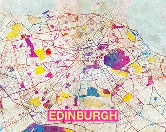Edinburgh Map - Original Art Print - City Street Map of Edinburgh, Scotland - Poster Watercolor Illustration Wall Art Home Decor Gift