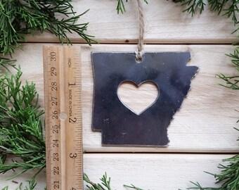 Love Arkansas State Steel Ornament Rustic AR Metal State Heart Host Gift Keepsake Travel Wedding Favor By BE Creations