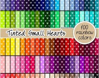 SALE 100 tinted small heart digital paper digital rainbow paper scrapbooking kit heart pattern 12x12 rainbow planner stickers pastel bright