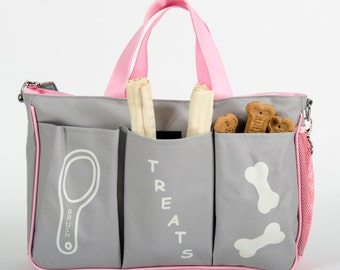 Dog Overnight/Travel Bag holds ALL of your dog's travel supplies.  You can personalize too! (Gray/Pink)