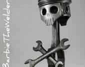 Piston skull and crossbones welded metal art sculpture