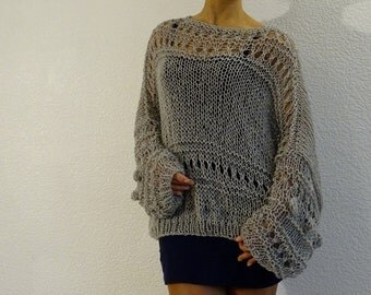 loose knit sweater, oversized sweater, loose sweater, knit loose, knit oversized, festival clothing, bohemain sweater, made to order