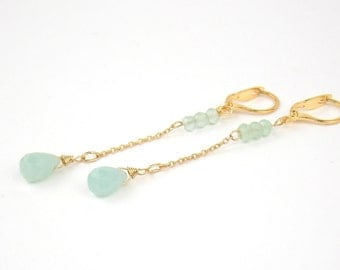 DROPS - Earrings gold filled and semi-precious stones Amazonite and Chalcedony
