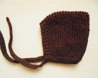 Baby pixie hat Brown baby bonnet Newborn bonnet Brown pixie hat Newborn beanie Baby boy bonnet t Newborn boy outfit Knit pixie hat