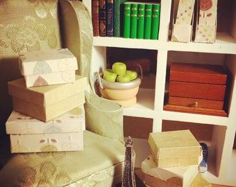 DOLLHOUSE STORAGE BOXES, handmade vintage 1:12 storage boxes from my 'New Leaf' range