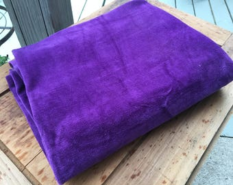 1.8 yd cotton velour vintage fabric stretchy purple pillow top children's clothing