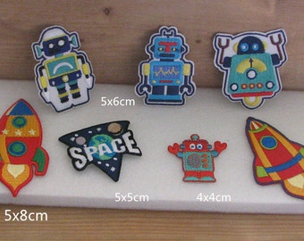 """Wholesale lot 7pcs  Robot   space spaceship rocket  embroidered iron on patch   diy sewing  boy favor 5cm 2"""""""