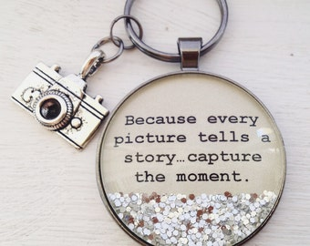 Capture the moment Photographer keychain, camera keychain, photographer gift