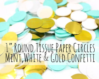 300 Mint, White, and Gold Confetti Tissue Paper Circles, 1 inch round Confetti Circles, Wedding Decorations, Birthday Party Decoration