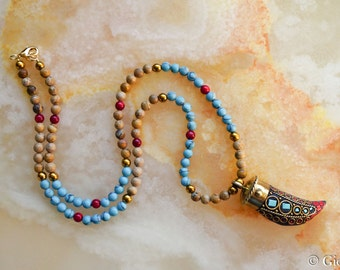 Tibetan Horn Necklace, Turquoise Picture Jasper Coral Necklace, Tribal Inspired Necklace, Tusk Horn Pendant, Tibetan Jewelry,Unisex Jewelry