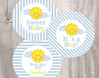 Sunshine Baby Shower Centerpieces, Printable Blue And Yellow You Are My  Sunshine Centerpieces, Instant